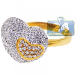 14K Yellow Gold 2.33 ct Diamond Womens Double Heart Ring