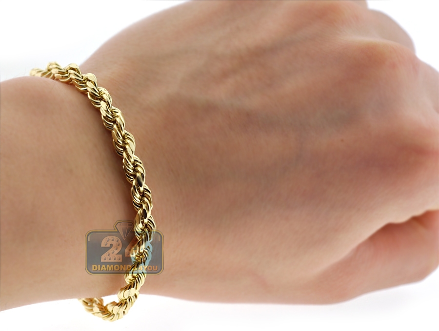 diamond yellow cut real gold womens men itm chain bracelet hollow rope