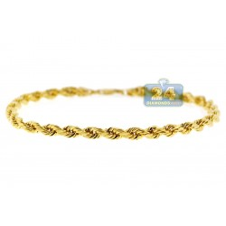 Real Italian 10K Yellow Gold Hollow Rope Mens Bracelet 4mm 8""