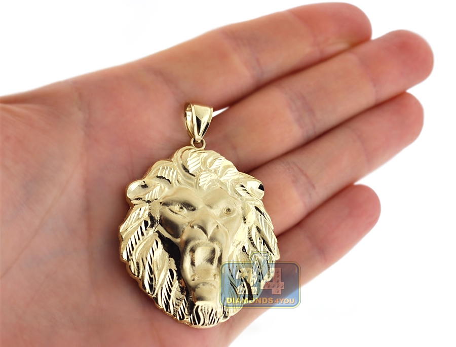 10k yellow gold lion head mens pendant aloadofball Choice Image