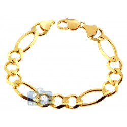 10K Yellow Gold Figaro Link Mens Bracelet 12 mm 9 Inches