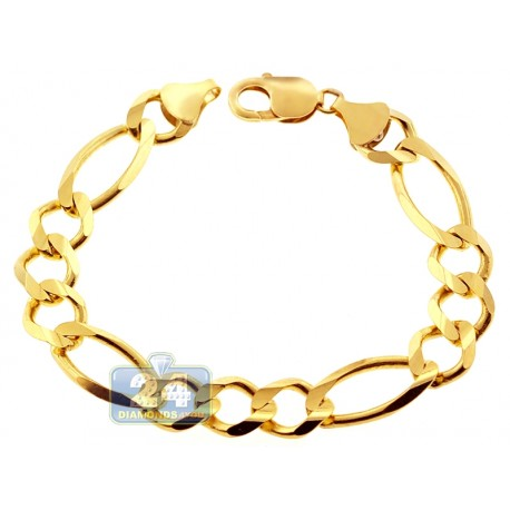 10K Yellow Gold Figaro Curb Link Mens Bracelet 12 mm 9 Inches