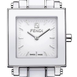 Fendi White Ceramic Square Womens 25 mm Watch F622240
