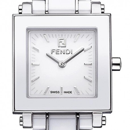 F622240 Fendi White Ceramic Square Womens Bracelet Watch 25mm