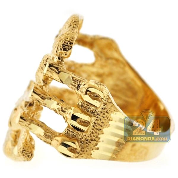 Mens Diamond Cut Scorpion Sign Ring Real 10k Yellow Gold