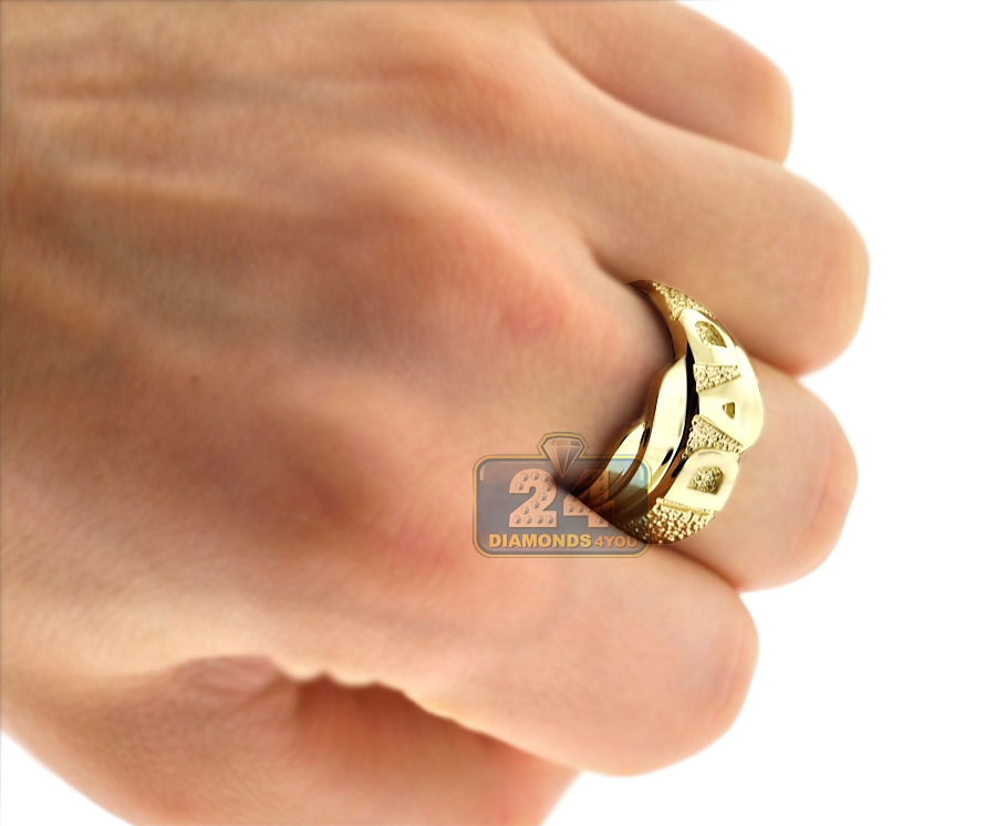 Mens Diamond Cut DAD Ring Real 10K Yellow Gold