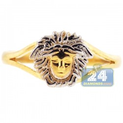 10K Yellow Gold Medusa Head Womens Ring
