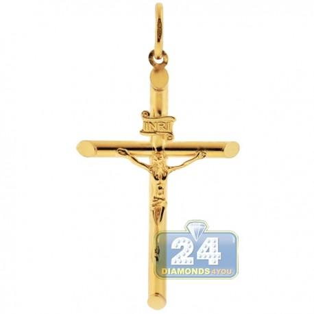 Mens 10K Yellow Gold Jesus Christ Crucifix Cross Large Pendant