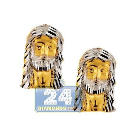 10K Yellow Gold Diamond Cut  Jesus Christ Mens Stud Earrings