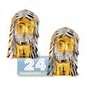 10K Yellow Gold Diamond Cut  Jesus Christ Stud Mens Earrings