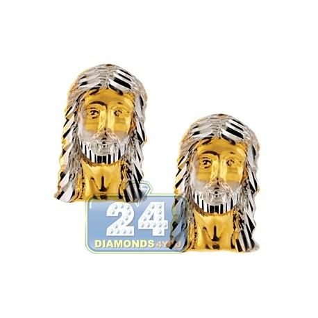 """10K Yellow Gold Jesus Christ Mens Religious Stud Earrings 1/2"""""""