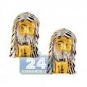 10K Yellow Gold Jesus Christ Mens Stud Earrings 1/2 Inch