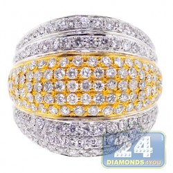 14K Two Tone Gold 2.63 ct Diamond Womens Wide Ring