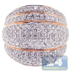 14K Rose Gold 2.55 ct Diamond Womens Wide Ring