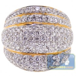 14K Yellow Gold 2.55 ct Diamond Womens Wide Band Ring