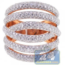 14K Rose Gold 3.91 ct Diamond Womens Long Multiband Ring
