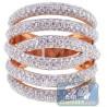 14K Rose Gold 3.91 ct Diamond Womens Long Multiband Ring