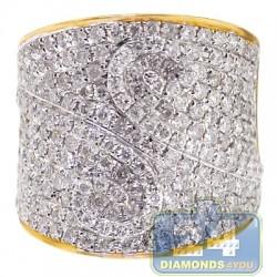 14K Yellow Gold 2.67 ct Diamond Pattern Womens Wide Ring