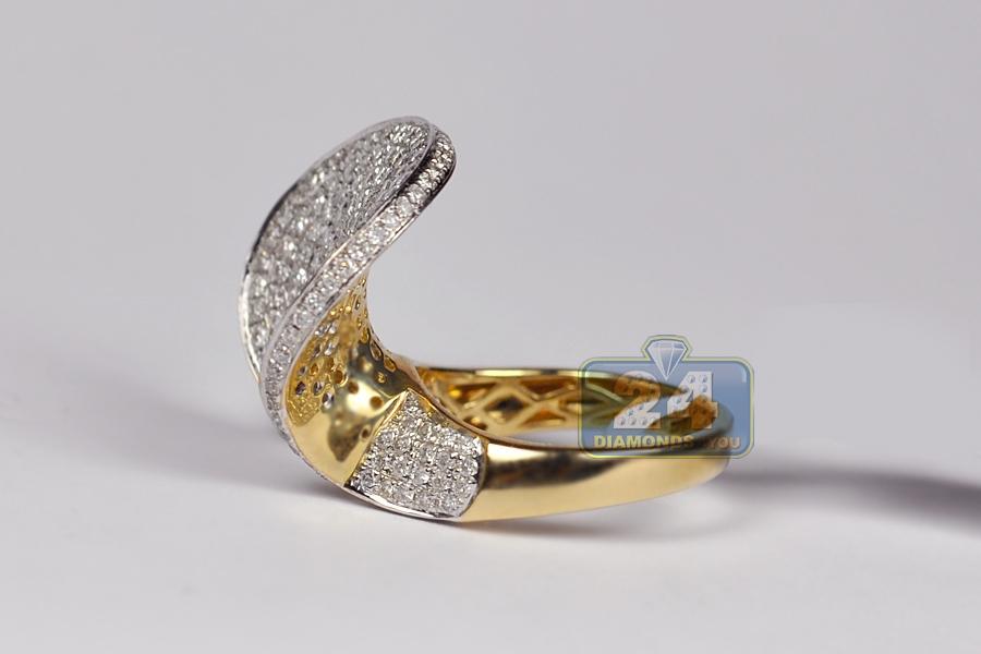 Womens Diamond Sleek Horseshoe Ring 14K Yellow Gold 2 35 ct