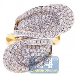 14K Yellow Gold 3.30 ct Diamond Womens Bypass Ring