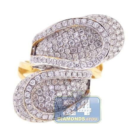14K Yellow Gold 3.30 ct Diamond Womens Bypass Abstract Ring