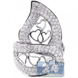 14K White Gold 1.83 ct Diamond Womens Heart Openwork Ring