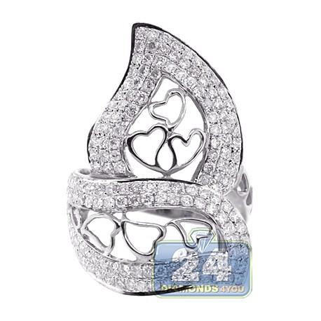 14K White Gold 1.83 ct Diamond Womens Heart Openwork Ring