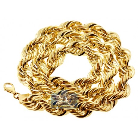 10K Yellow Gold Hollow Rope Mens Chain 16 mm 30 Inches 100 Grams