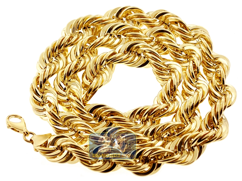 10k Yellow Gold Hollow Rope Mens Chain