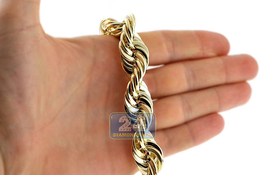10k Yellow Gold Hollow Rope Mens Chain 16 Mm 30 Inches 100