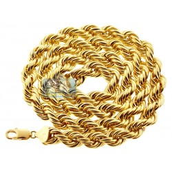 Italian 10K Yellow Gold Hollow Rope Mens Chain 10 mm