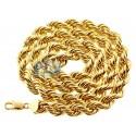Italian 10K Yellow Gold Hollow Rope Mens Chain 10 mm