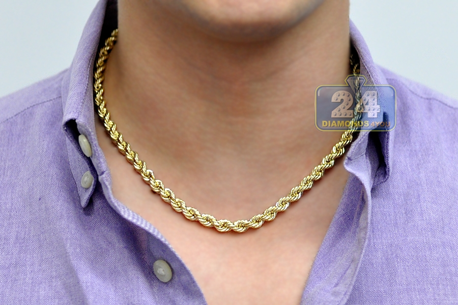10k Yellow Gold Hollow Rope Mens Chain 6 Mm 18 Inches