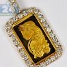 Mens Diamond Frame Pendant Suisse 24K Bar 14K Yellow Gold 2.48ct