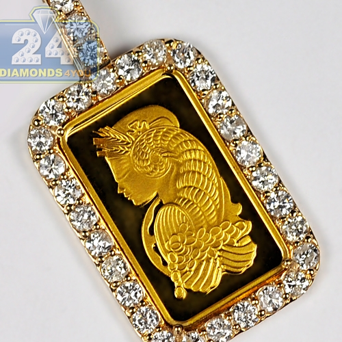 Mens diamond frame pendant suisse 24k bar 14k yellow gold 248ct aloadofball Image collections