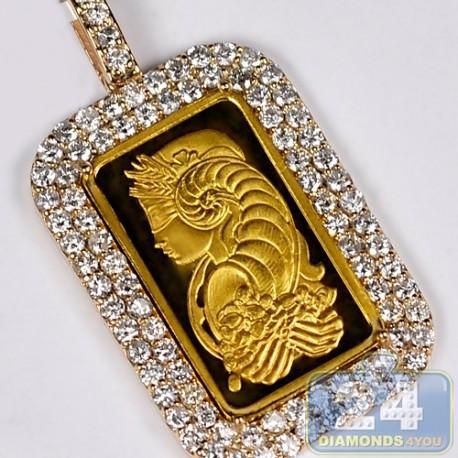 Mens Diamond Frame Pendant Suisse 24K Bar 14K Yellow Gold 2.71ct