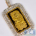 Suisse 24K Bar 14K Yellow Gold 2.71 ct Diamond Frame Pendant