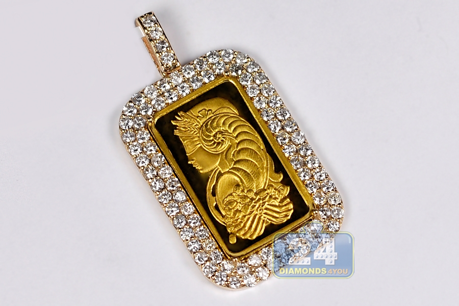Mens diamond frame pendant suisse 24k bar 14k yellow gold 271ct aloadofball Choice Image