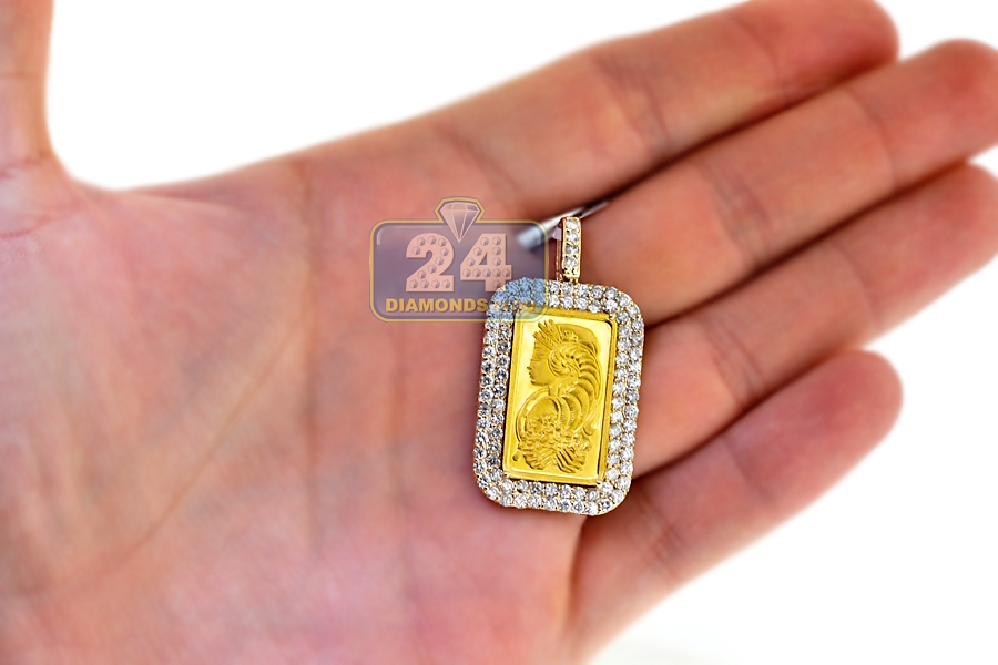 Mens diamond frame pendant suisse 24k bar 14k yellow gold 271ct aloadofball Image collections