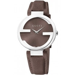 Gucci Interlocking Large Brown Womens Steel Watch YA133319