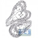 14K White Gold 2.04 ct Diamond Womens Hearts Bypass Ring