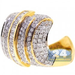 14K Yellow Gold 3.02 ct Diamond Womens Signet Ring