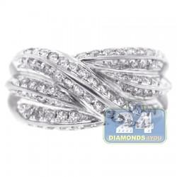 14K White Gold 1.01 ct Diamond Womens Wave Band Ring