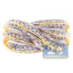 14K Yellow Gold 1.01 ct Diamond Womens Wave Ring