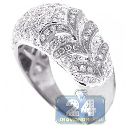 14K White Gold 1.22 ct Diamond Womens Floral Band Ring