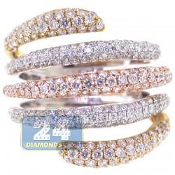 14K Three Tone Gold 2.47 ct Diamond Womens Multiband Ring