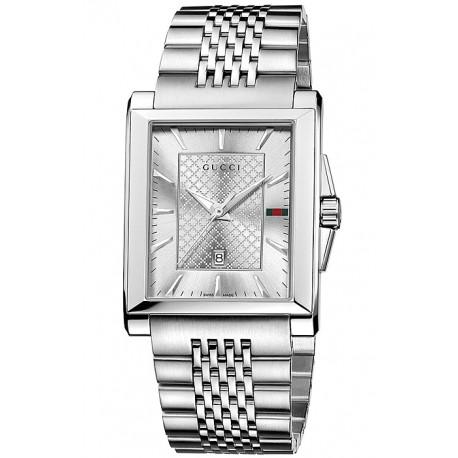 bc741a3bdd2 Gucci G-Timeless Rectangular Steel Bracelet Mens Watch YA138403