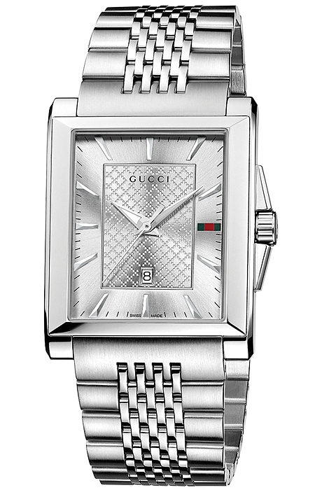 07c5300bf84 Gucci G-Timeless Rectangular Steel Bracelet Mens Watch YA138403