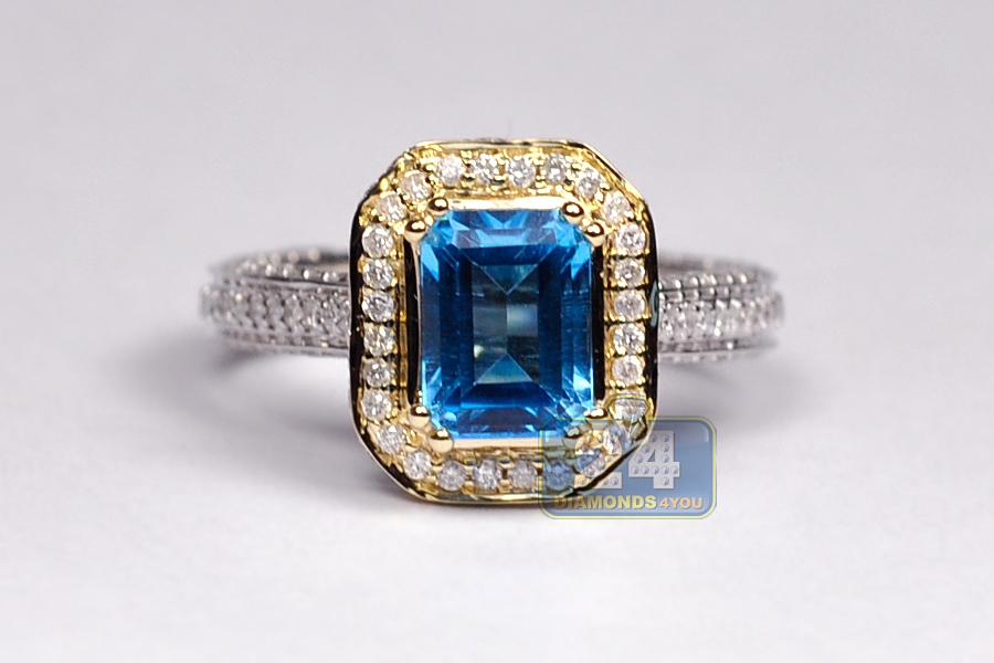 Blue Topaz Diamond Halo Engagement Ring 14k Two Tone Gold