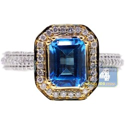 14K White Gold 1.85 ct Blue Topaz Diamond Womens Ring